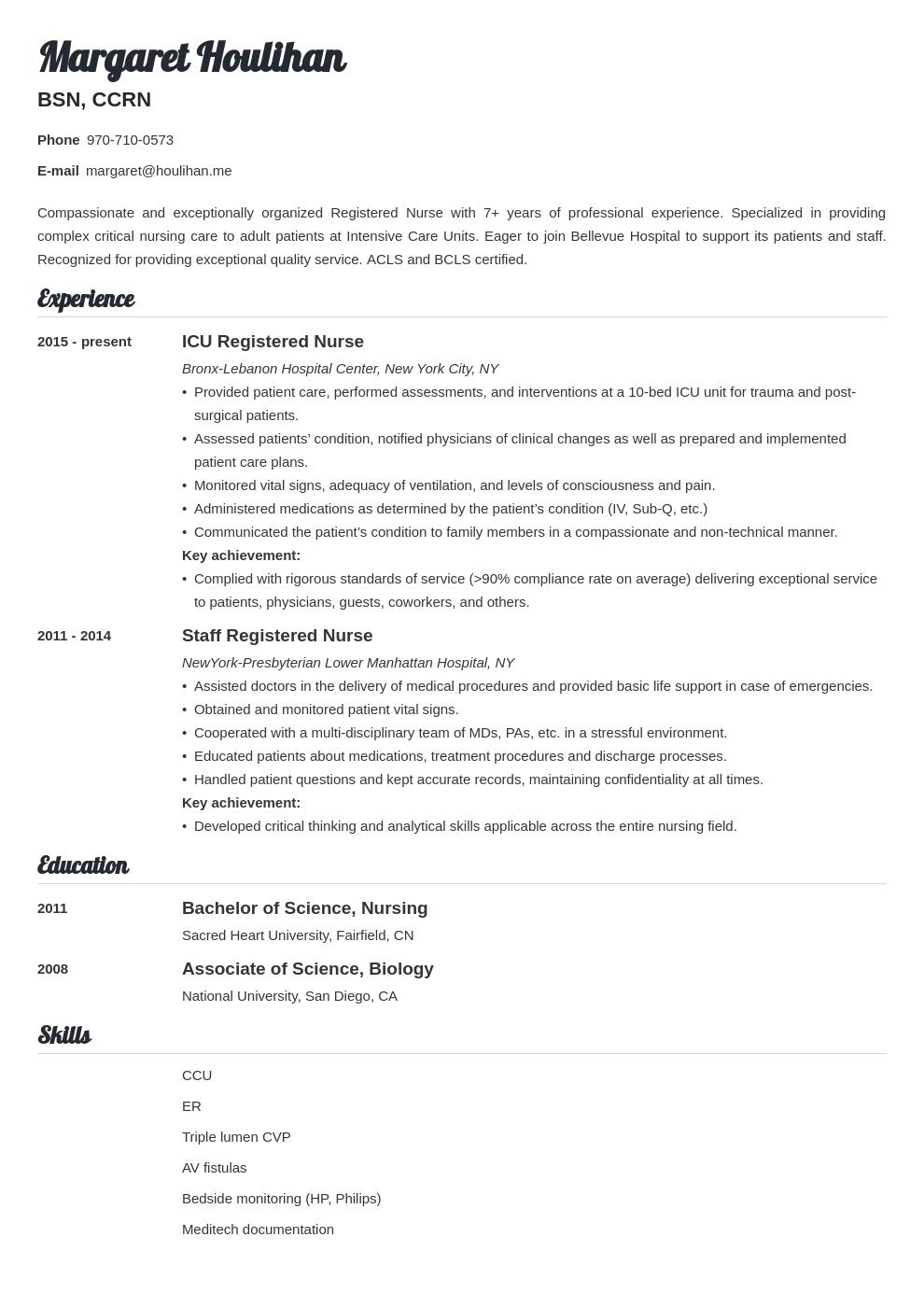 icu nurse resume example template valera in 2020 Icu