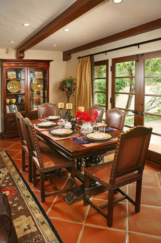 Mediterrenean Dining Room With Dark Hardwood Furniture Corner Cabinet Transparent Glass Door