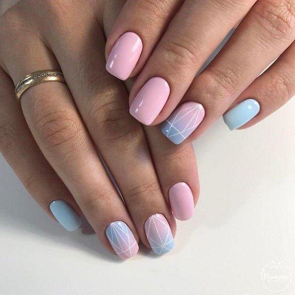 Pastel Colored Geometrical Nail Art Design. Pastel colored are so summer-y! Try ... - #Art #Colored #design #Geometrical #nail #pastel #summery #holidaynails