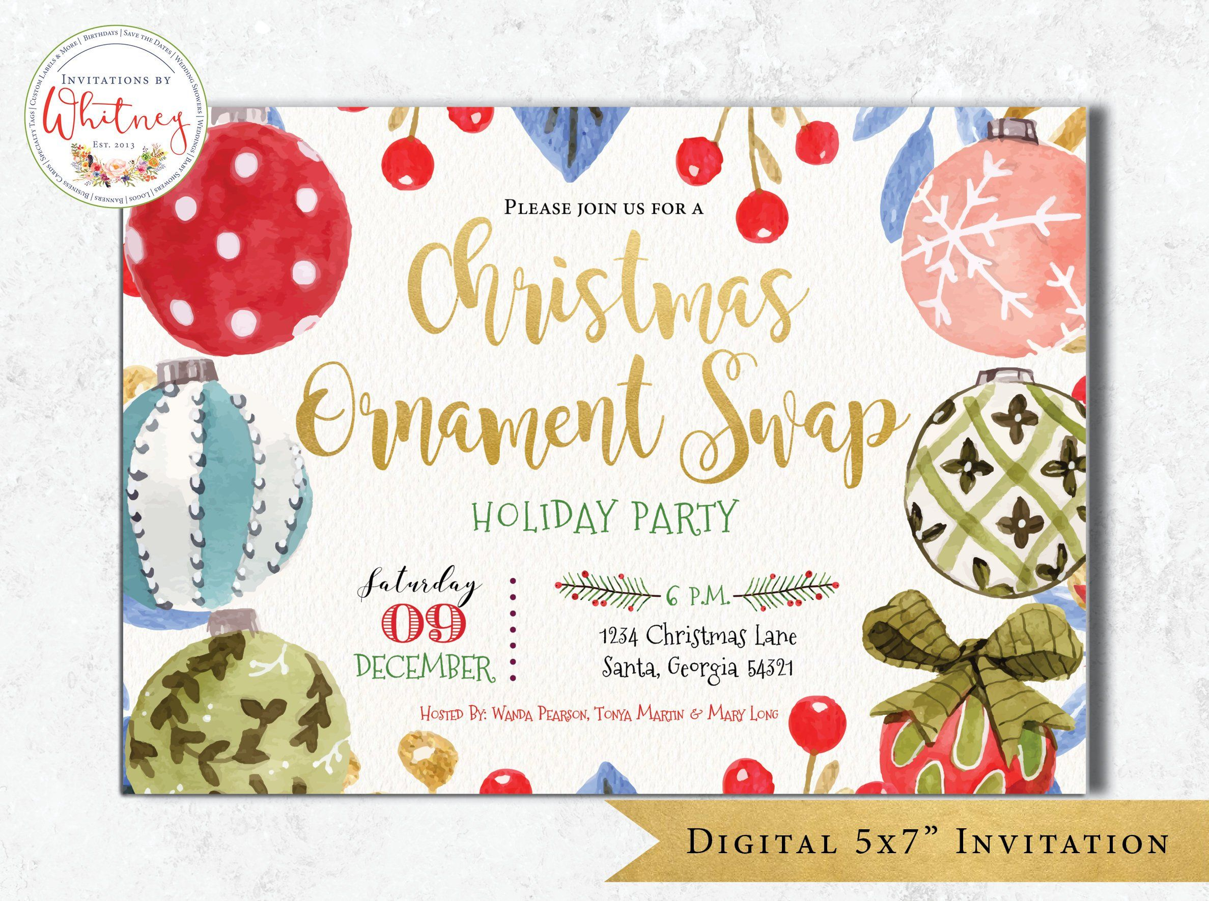 christmas ornament swap invitation christmas party invitation
