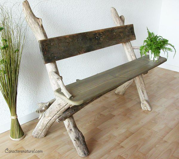 Banc en bois flotté et planches de récupération | Jardin | Pinterest ...