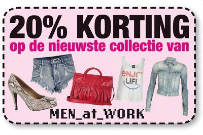 20% korting op de nieuwste collectie van Men_At_Work! Get it now! - Fashionista 06-2012