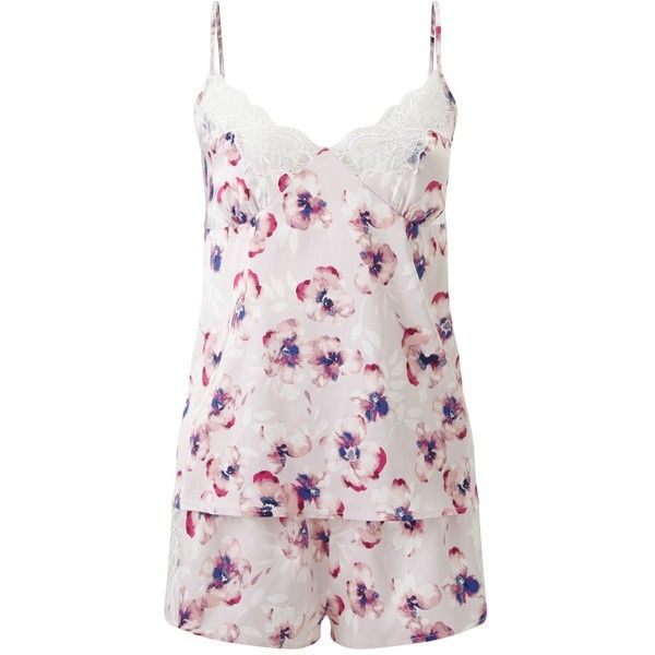 a2bd2ab11 John Lewis Satin Winter Pansy Camisole And Shorts Pyjama Set ...