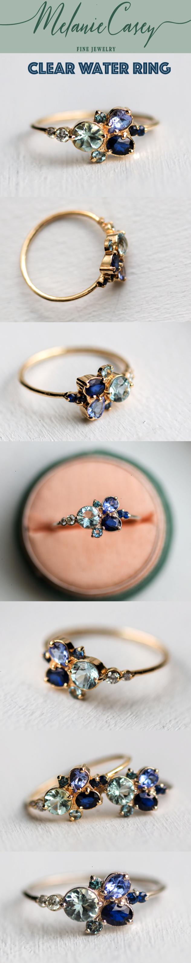 Right hand teal blue sapphire aquamarine pear tanzanite