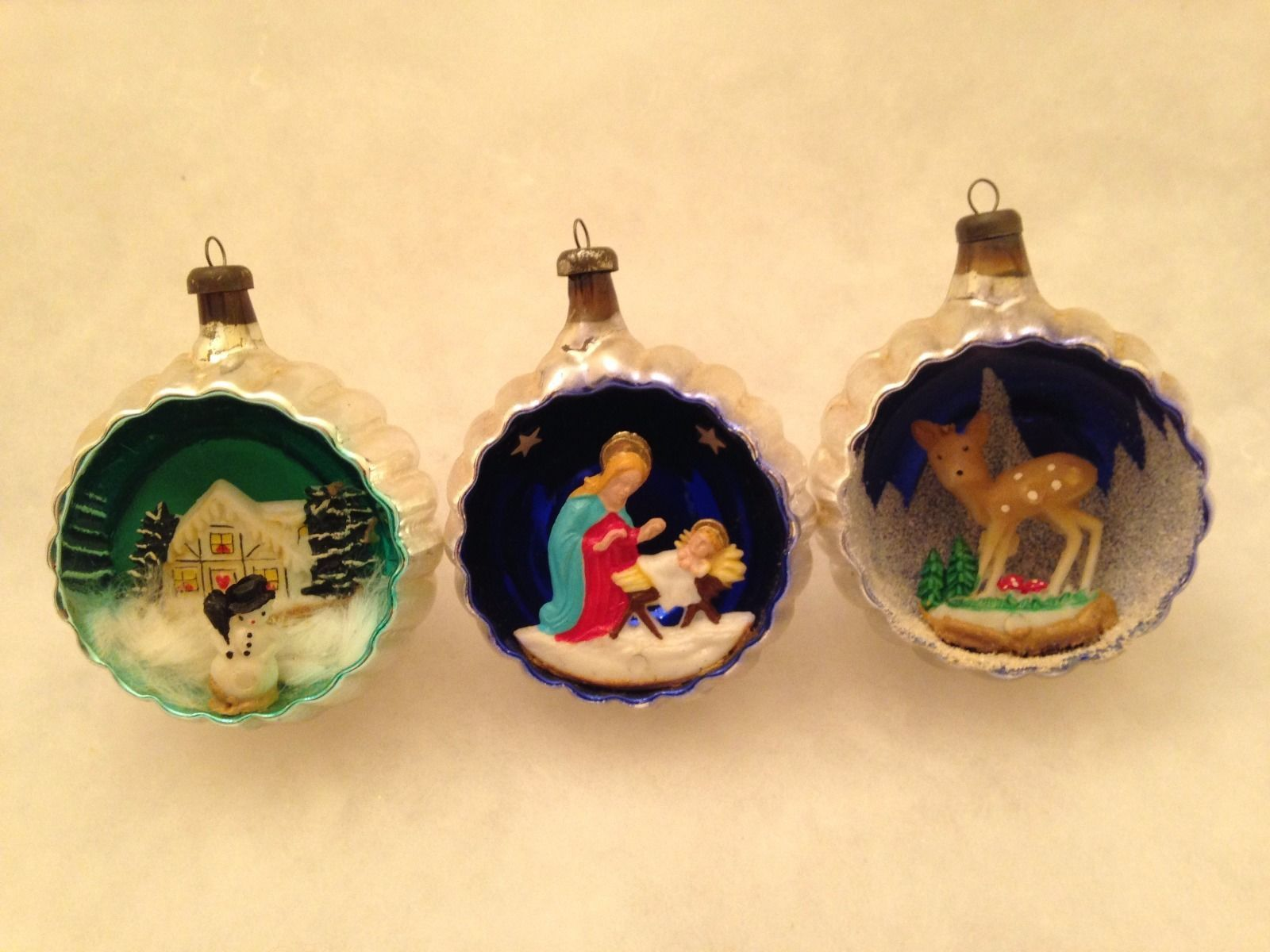 3 vintage italian mercury glass diorama indent scene christmas tree ornaments ebay - Ebay Vintage Christmas Decorations