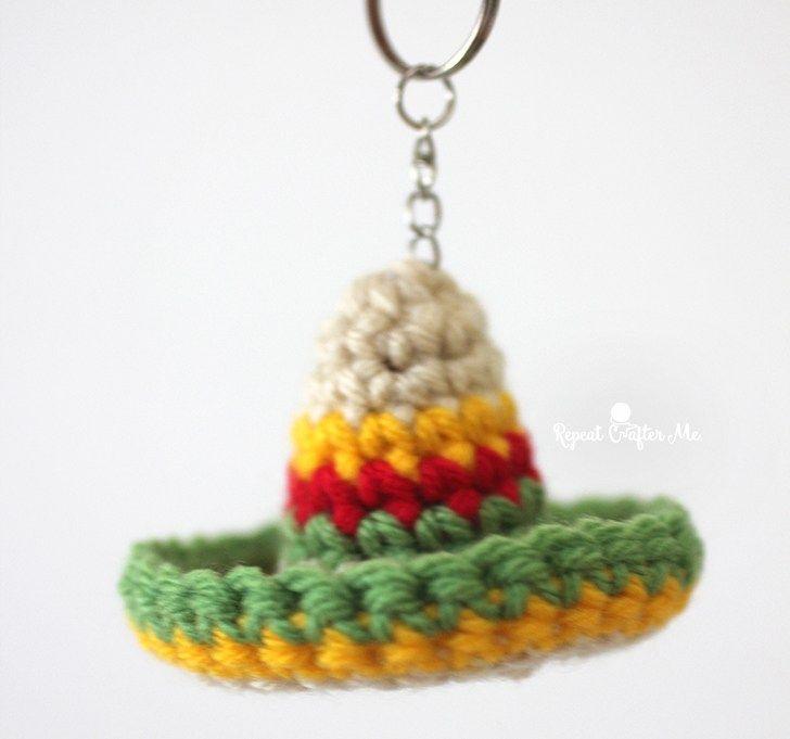 Crochet Sombrero Keychain   llaveros   Pinterest   Crochet, Cute ...
