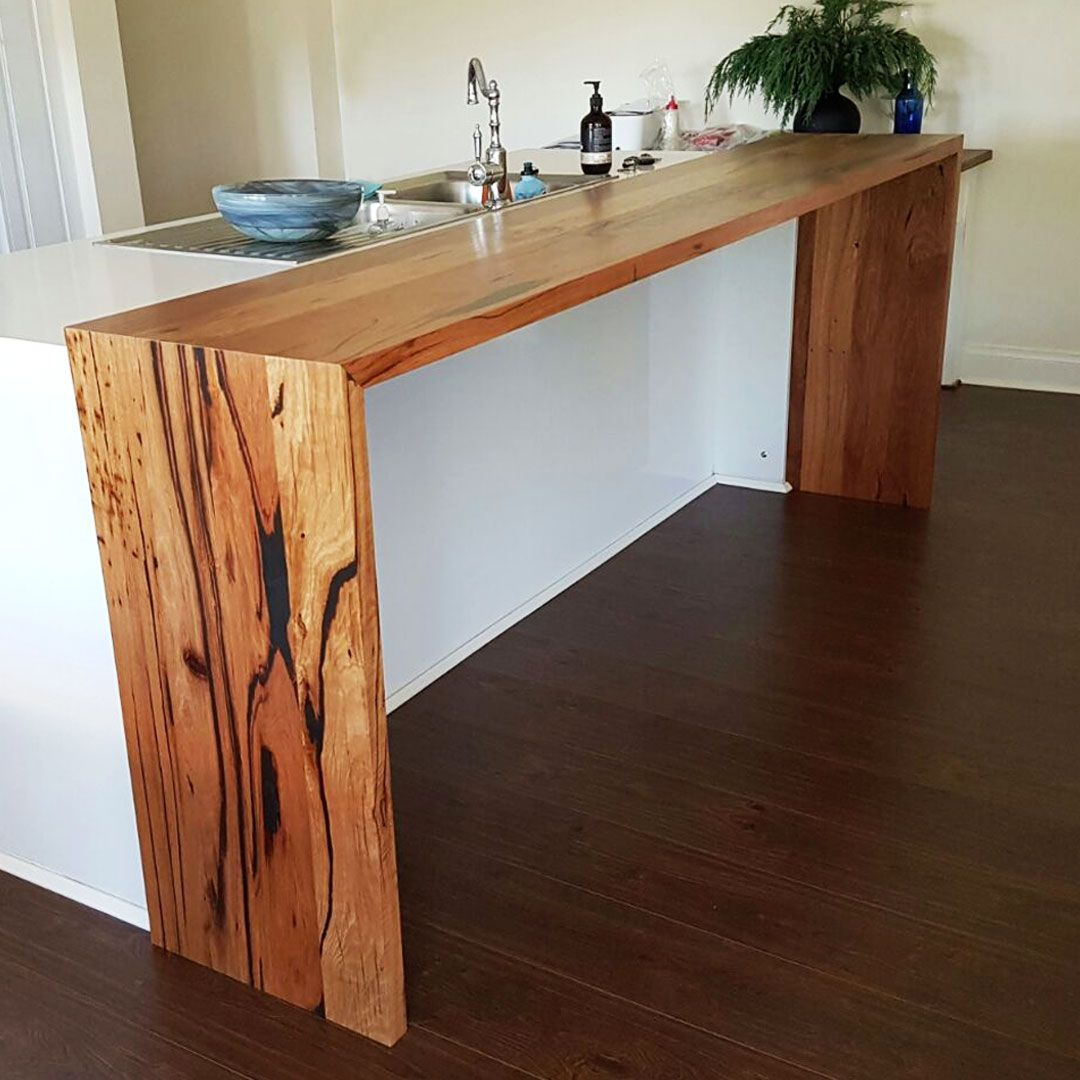Waterfall Ends Kitchen Bench: Recycled Messmate Double Waterfall Island Bench Extension