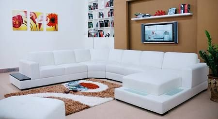 Tosh Furniture Modern Leather Sectional Sofa With Lights