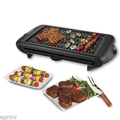 Electric Indoor Grill Portable Smokeless Kitchen Non Stick Cooking Bbq Griddle Kitchen Din Indoor Barbecue