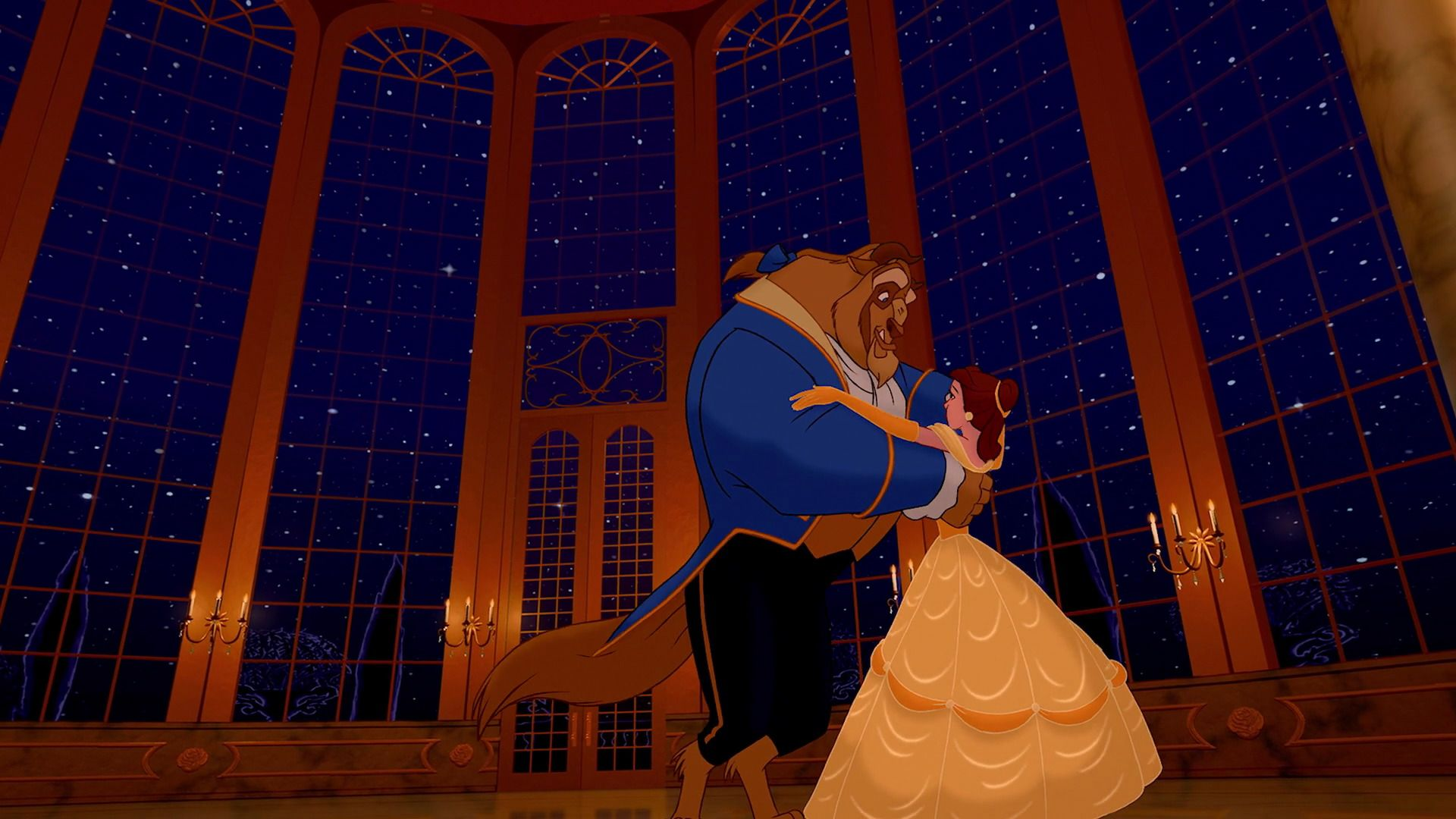 Belle And The Beast Dancing In The Ballroom In Tale As Old As Time
