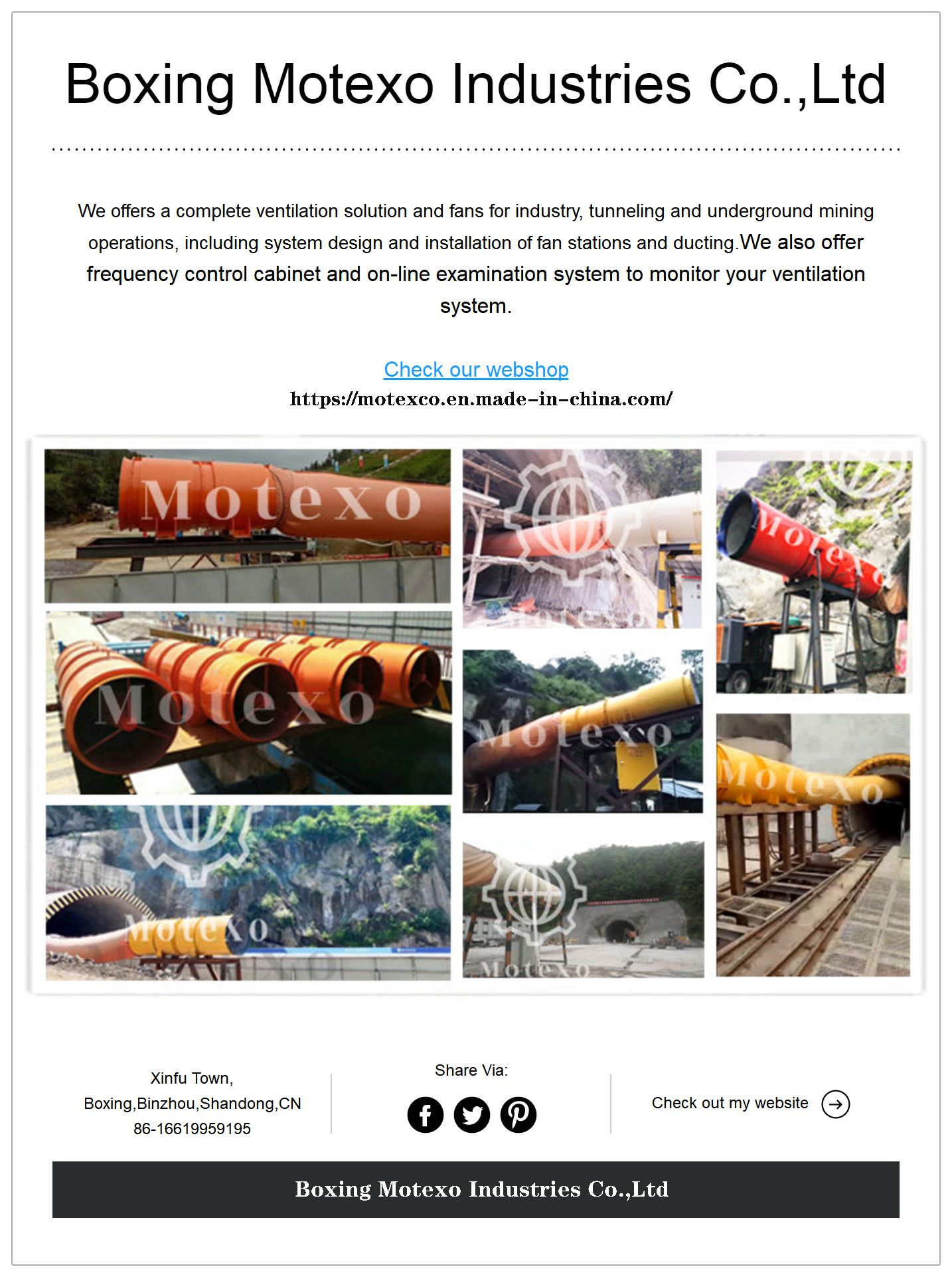 Specialist and manufacturer of mining/tunnel/industrial