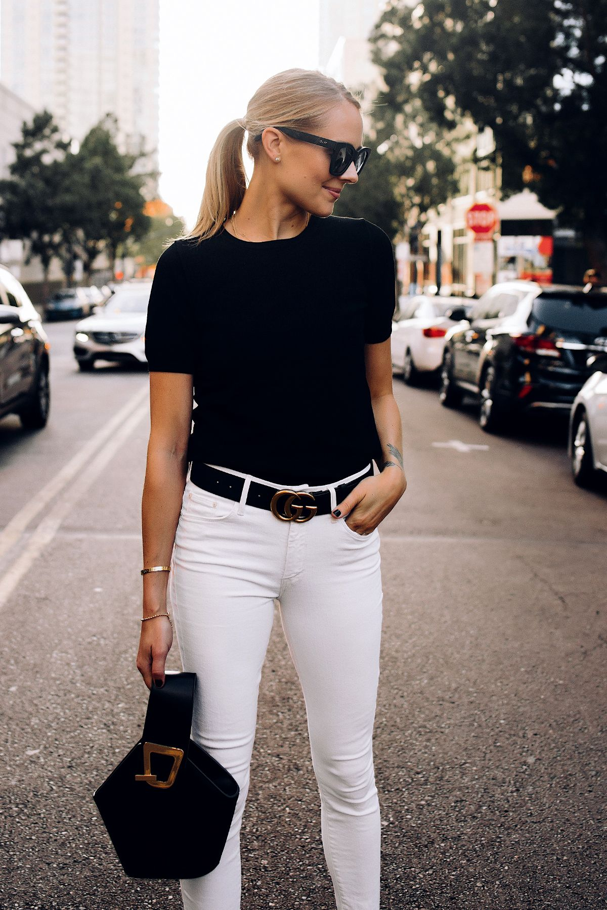 752a2b59ac1 ... Ann Taylor Black Short Sleeve Sweater White Jeans Black Gucci Belt  Black Danse Lente Bucket Bag Fashion Jackson San Diego Fashion Blogger  Street Style