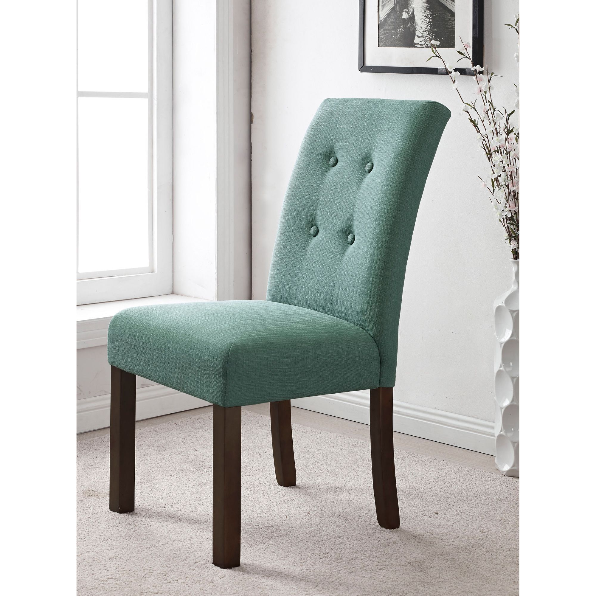 HomePop 4 button Tufted Aqua Textured Parsons Chair Set of 2