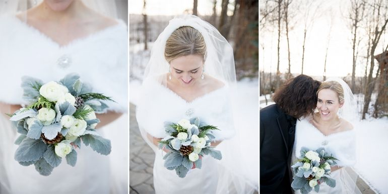 Bridal Portraits at Stroudmoor Country Inn Winter Wedding