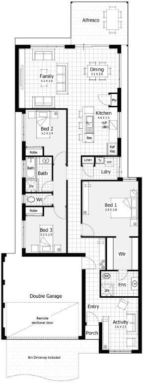 Floor Plan Idea Would Want A Door To The Laundry But Like The Idea Of Closing Off The Bedrooms And Second Bath Kin New Home Designs House Design Floor Plans