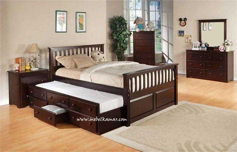 Kamar Set Minimalis Kayu Jati Sorong Rjt 376 Full Bed With
