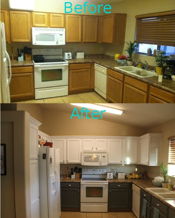 Kitchen Cabinet Makeover Ideas Paint: My Kitchen Makeover Under $200! Crown Moulding, Two Tone