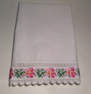 Vintage lace and embroidery pillowcase, shabby chic bedding, vintage bedding, cottage bedding on Etsy, $18.00