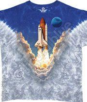 Space Shuttle Tie-Dye T-Shirt Tee Liquid Blue