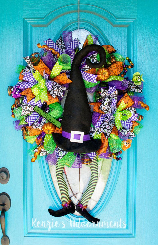 Halloween Witch Wreath, Witch Legs Wreath, Halloween ...