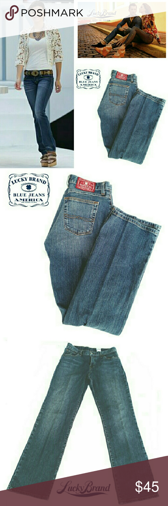 """LUCKY BRAND JOSIE DUNGAREES JEANS LUCKY BRAND CLASSIC FIT JOSIE DUNGEREES JEANS Pre-Loved  / Pic for Similarity / RN 80318 *   Size 29 Josie Regular Classic Fit  *   Standard 5 Pocket Jean's Approx Meas;                          Waist Flat 15.5""""                          Inseam 32""""                          Rise 9.5"""" Pls See All Pics. Ask ? IF Needed Lucky Brand Jeans Boot Cut"""