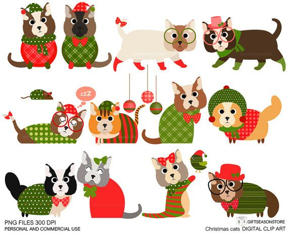 2020 Dog And Cat Christmas Commercial Christmas cat clip art for Personal and Commercial use | Etsy in