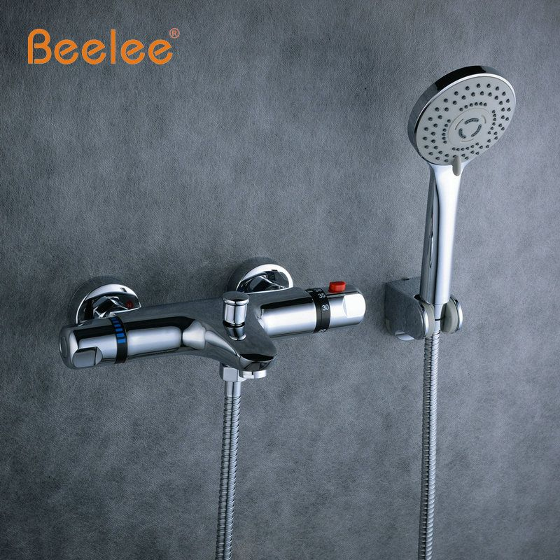 Beelee Wall Mounted Bath Thermostatic Faucet Mixer Shower Exposed ...