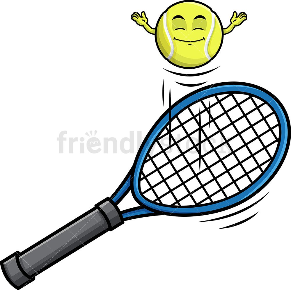 Tennis Ball Hopping On Racket Emoji Cartoon Clipart Vector Friendlystock Tennis Ball Tennis Rackets
