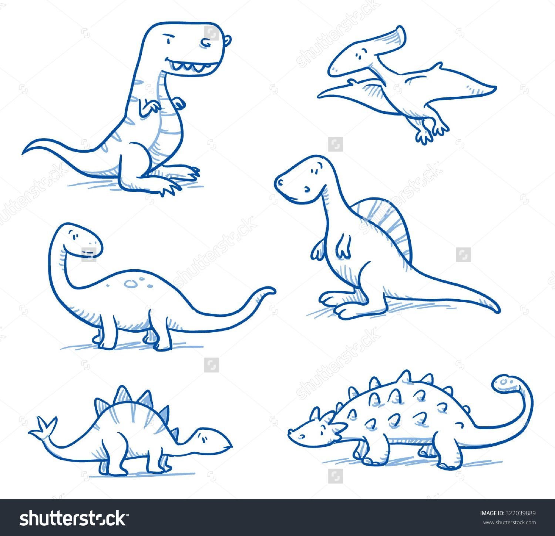 cute little cartoon dinosaurs for children hand drawn vector