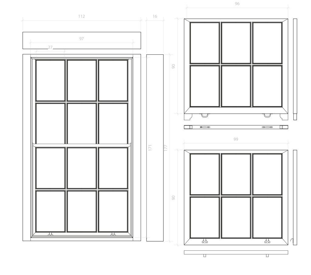 Front Elevation Windows : Sash window elevation technical drawing digital