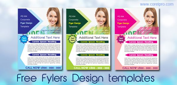 Free Flyer templates in three colors with coreldraw source file - free pamphlet templates