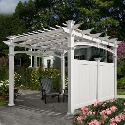 New England Arbors 12 Ft X 12 Ft Vinyl Pergola Flat Privacy Wall Va42027 The Home Depot Vinyl Pergola Backyard Pergola New England Arbors