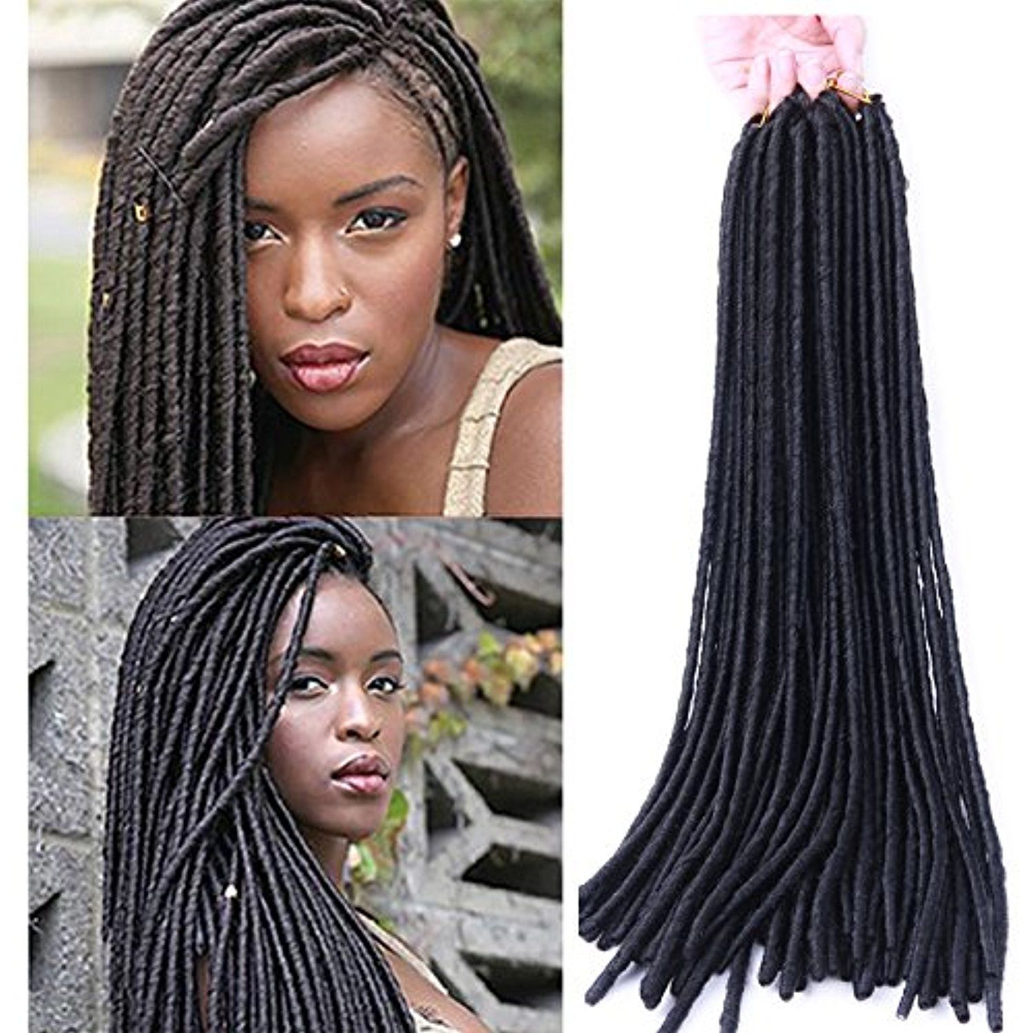 Lady Miranda Faux Locs Twist Crochet Braids Hair 20 Inches Loop Micro Ring Extensions Synethetic Dreadlocks For Black Africa Women Black3 Check