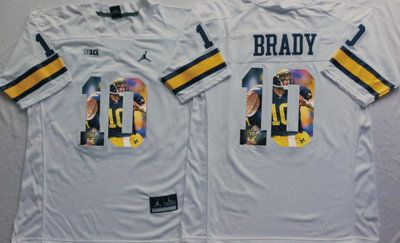 outlet store 9b7bb a7bbe Michigan Wolverines 10 Tom Brady White Portrait Number ...