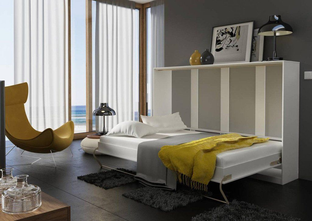 Horizontal Wall Fold Away Murphy Bed Concept Small Double 120cm In