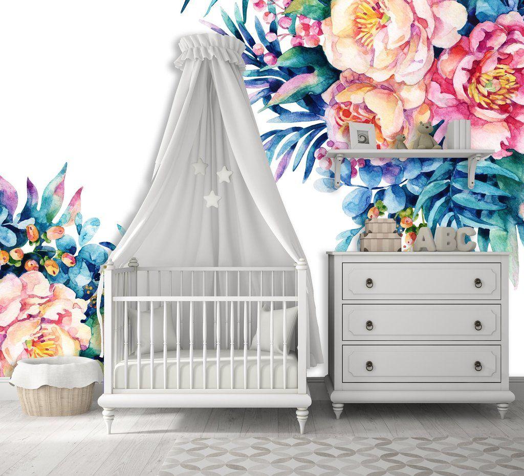 Removable Nursery Wallpaper Mural Peel & Stick Peony