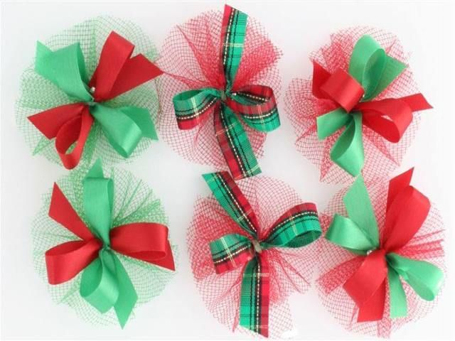 AC0913 - Red & Green Hair Bow Collection