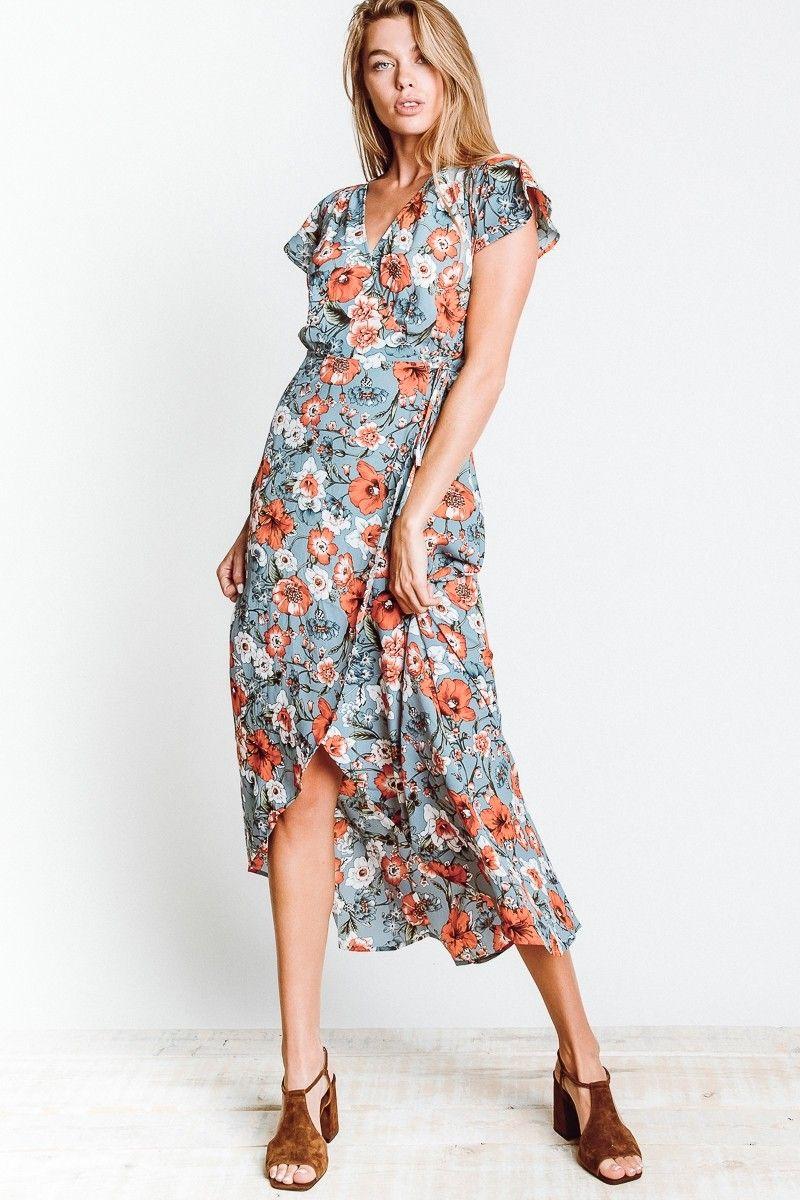 573cb57c3 Floral Wrap Dress | SAGE THE LABEL Hazel Wrap Dress In Sky Blue ...