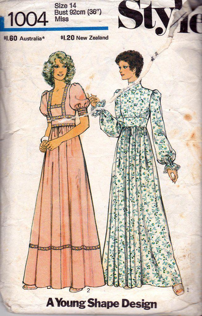 Style 1004 Vintage Sewing Pattern Boho Full Sleeve Maxi Dress Size ...