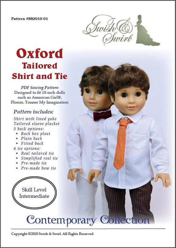 PDF Pattern SS2010-01. Oxford Tailored Shirt and Tie for