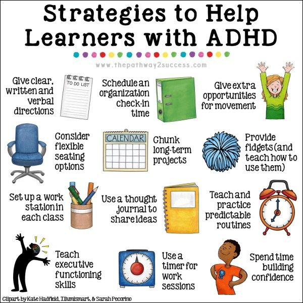 25  strategies for kids and teens with ADHD! Help students find success in the classroom with organization, study strategies, extra movement, building confidence, strategies for attention, setting up a work station, and more. Activities and materials to use to help children and young adults be more independent. #adhd #pathway2success
