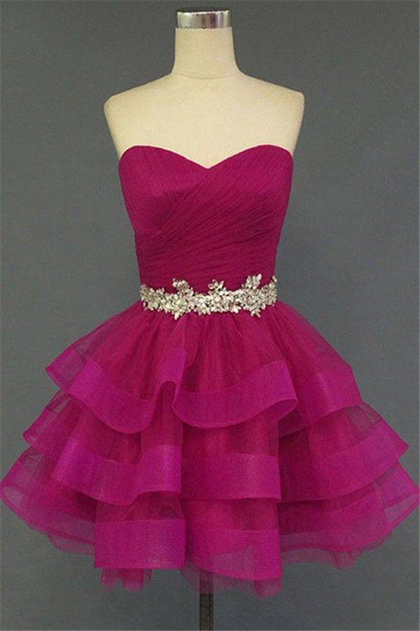 3e702ad2f91 Ball Gown Sweetheart Short Fuchsia Tulle Ruffle Tiered Prom Dress With  Beading