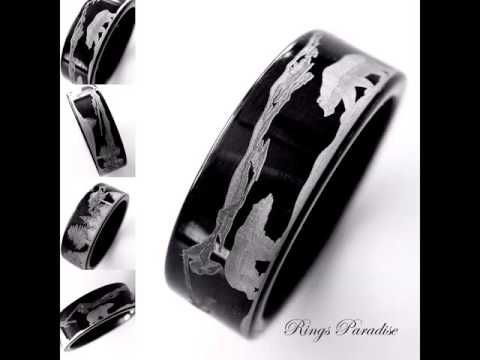Wedding Band Rings Mountain Rang Landscape BearsTungsten Car Mountains Forest Bears Ring Nature