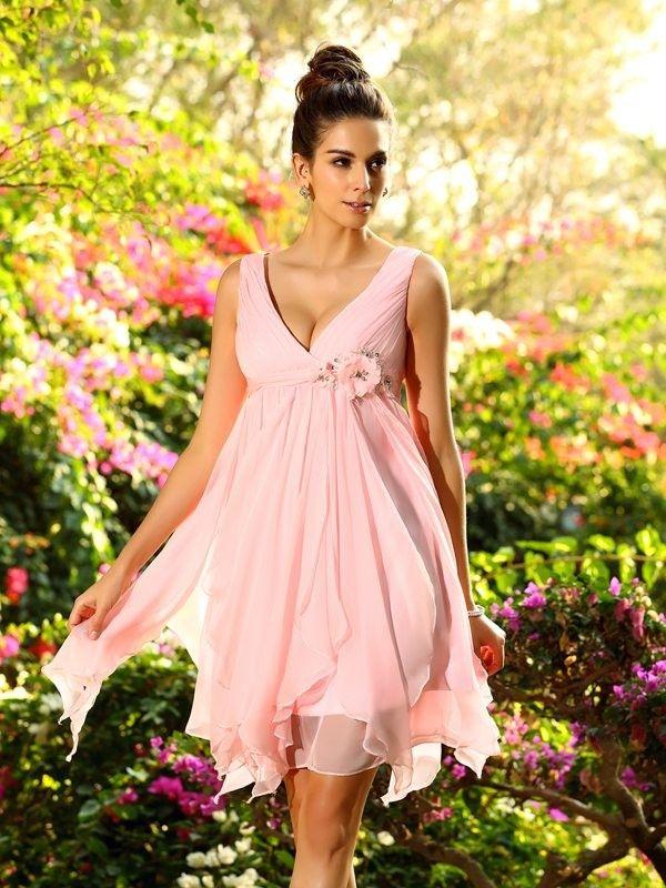 A-Line/Princess V-neck Ruffles Sleeveless Knee-Length Chiffon Bridesmaid Dresses