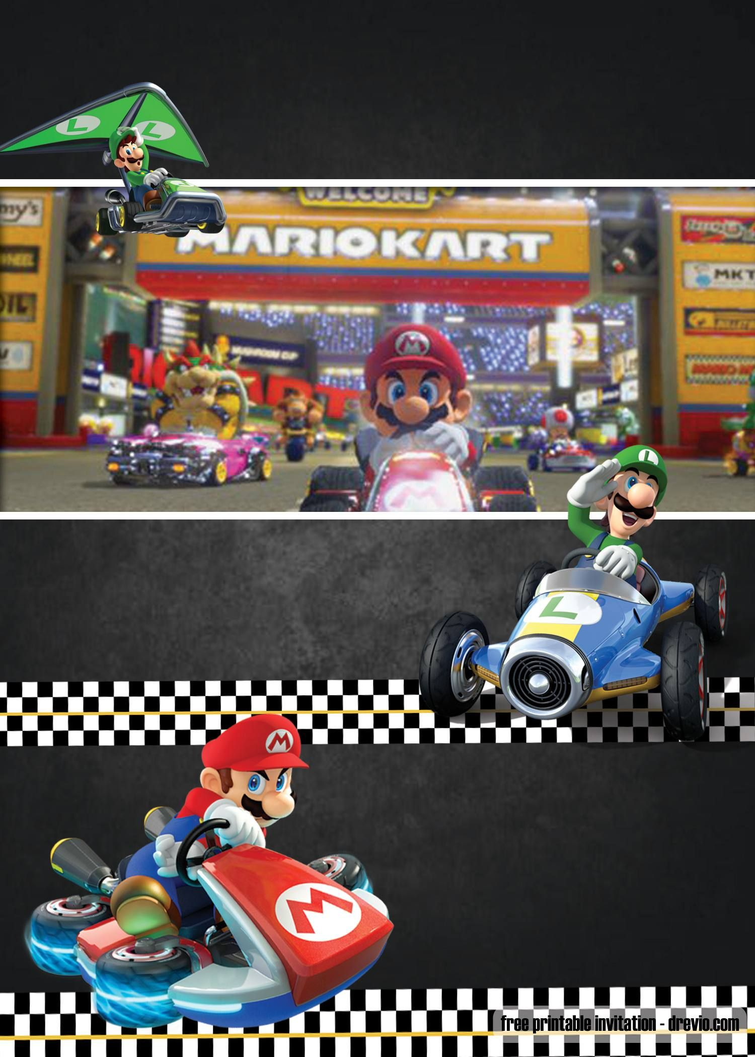 Free Mario Kart Invitation Template Mario Kart Mario Bros Party