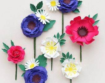 Handmade Four Colour Paper Flower Wall Display Paper Flower Wall