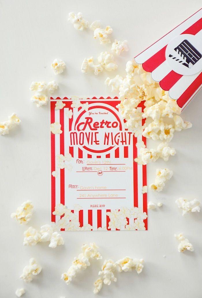 FREE retro movie night party invitation! Movie Night Party with FREE ...