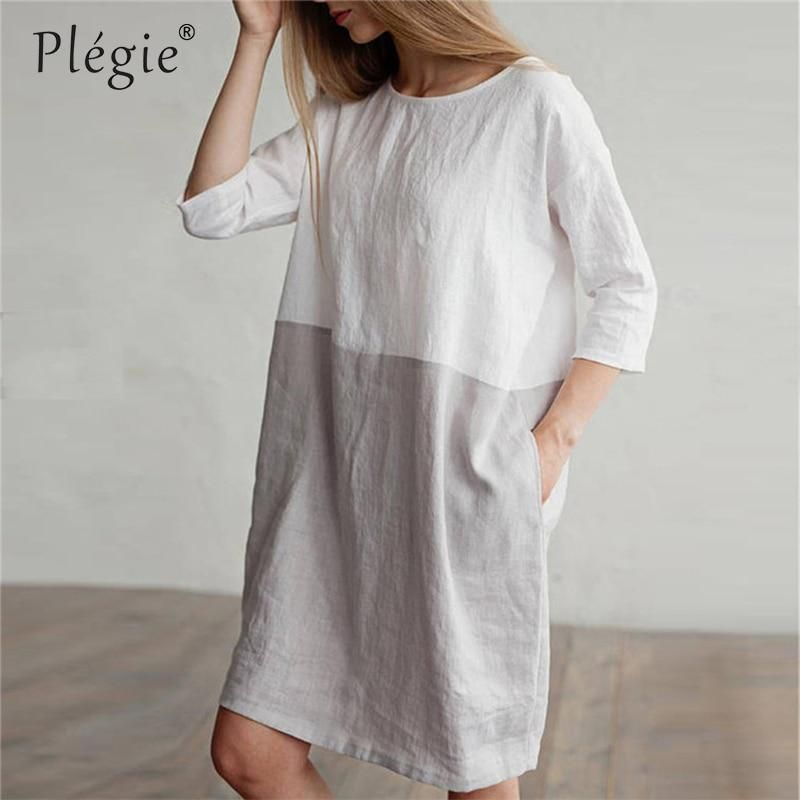 Womens Summer Solid Crew Neck Short Sleeve Cotton Linen Loose Beach Dresses Casual Loose Midi Dress with Pocket