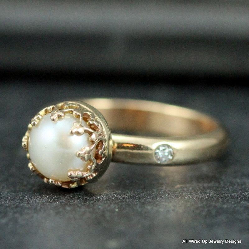 14k Gold Pearl Ring - Romantic Pearl Ring | Gold pearl ring, Gold ...