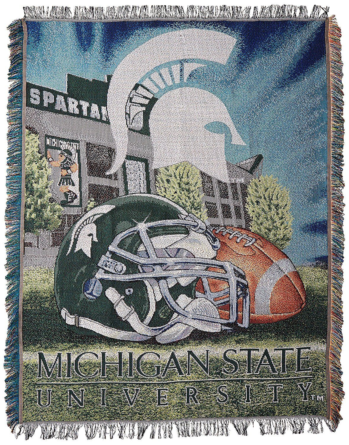 timeless design 1c5af 5d0e2 Amazon.com   Officially Licensed NCAA Michigan State Spartans Home Field  Advantage Woven Tapestry Throw Blanket, 48